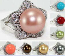 8Colors 12mm South Sea shell pearl Gemstone Jewelry Ring Size: 7 8 9 AAA Grade