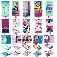 1pc Clip Button PU Premium Leather Card Slots Case Cover Skin For Various Phone