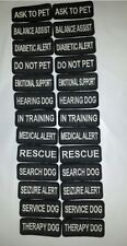TWO Small Black Sew-On Embroidered Patches - SERVICE DOG  ASSORTED - 1 1/4 x 3""