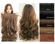 Full Head One Piece (5 Clips) Synthetic Clip-on Long Wavy Human Hair Extensions
