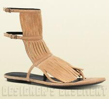 GUCCI beige Suede Fringe BECKY buckled straps GLADIATOR sandals NIB Authent $585