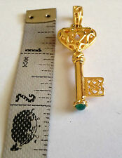 "Signed VERONESE 18K Gold Clad Sterling Key Heart Filigree 2"" Pendant Enhancer"