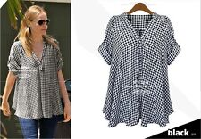 S316 Fashion Women Loose V Neck Casual Tops Shirt Blouse plus size 14-22
