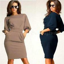 Fashion Sexy Womens Short Sleeve Party Evening Bodycon Cocktail Midi Dress DJNG