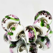 5pcs Silver GF MURANO GLASS BEADS LAMPWORK fit European Charm Bracelet B0540
