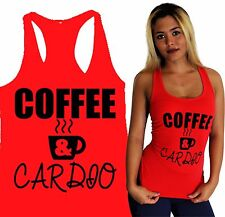 COFFEE & CARDIO women yoga tank shirt gym fitness clothes squat workout apparel
