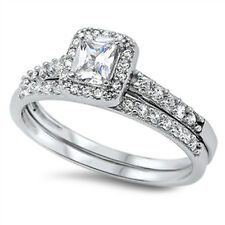 Wedding Set White Halo CZ Unique Ring New .925 Sterling Silver Band Sizes 5-10