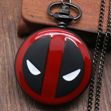 Full Hunter DEADPOOL MARVEL Black&Bronze Necklace Chain Pocket Watch Men Women