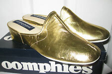 OOMPHIES GRANADA LADIES GOLD LEATHER MULES SLIPPERS SHOES 8 BRAND NEW