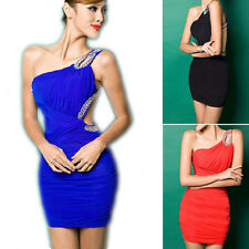 Womens Sexy Rhinestone Party Dress One Shoulder Club Party Short Cocktail Dress