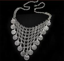 Boho Gypsy Turkish Festival Retro Silver Coin Dance Belly Bib Statement Necklace
