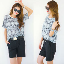 Women Fashion Floral Short Sleeve O-Neck T-Shirt Tops + With Belt Shorts Twinset
