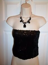 VICTORIAS SECRET MODA INTERNATIONAL BLACK SEQUIN TOP SIZE 10 NEW W/O TAGS