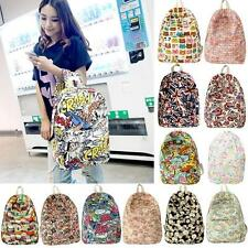 Women Men Graffiti Print Backpack Unisex Travel Campus School Book Bag Zipper