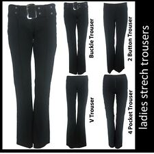 Ladies Sexy Stretch Hipsters Plain Trousers Pants Smart Casual Work School NEW
