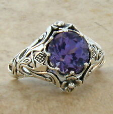 COLOR CHANGE LAB ALEXANDRITE ANTIQUE NOUVEAU STYLE 925 STERLING SILVER RING,#326