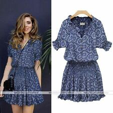Sexy Womens Floral Summer Casual Short Sleeve Mini Dress Party Dress Excellent