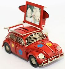 PHOTO FRAME MONEY BOX VW CLASSIC RED METAL BEETLE SURF OLD STYLE RUSTIC DESIGN
