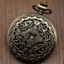 Hollow Bronze Mechanical Hand Wind Black& White Dial Pocket Watch Pocket Chain