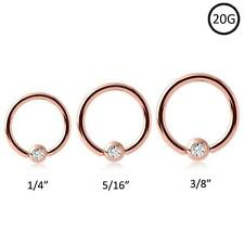 Rose Gold Plated Steel Captive Bead Nose Ring Hoop 20 Gauge 20G