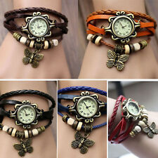 Quartz Fashion Weave Around Leather Bracelet Lady Woman Wrist Watch GFY