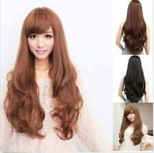 Womens Long Brown Curly Wavy Full Wigs Party Hair Cosplay Fashion Wigs New+Cap