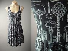 Victorian Vtg-y Skeleton Key Novelty Print Gothic Black Tank Skater 136 mv Dress