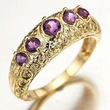 Jewelry Size 7,8,9 Amethyst Halo 10K Gold Filled Women Fashion Anniversary Rings