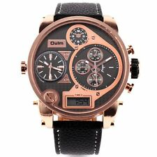 OULM Military Army Quartz Three Time Zones Analog Leather Sports Wrist Watch