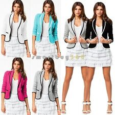 Hot Women Casual Blazer OL Short Slim Collar One Button Jacket Suit Coat Outwear