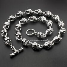 "18"" ~ 36"" Huge Heavy 316L Stainless Steel Skull Mens Biker Punk Necklace 5L018NA"