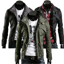 Military Style Men's Slim Fit Stand Collar Jacket Coat Button Hoody Overcoat Top