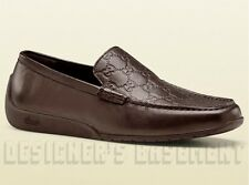 GUCCI mens G* Brown GUCCISSIMA leather SILVERSTONE Moccasin shoes NIB Authentic!