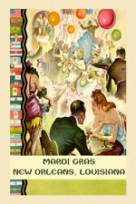 MARDI GRAS NEW ORLEANS LOUISIANA FAT TUESDAY CARNIVAL PARTY VINTAGE POSTER REPRO