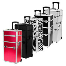 Rolling Makeup Artist Aluminum Train Stackable Cosmetic Studio Case Organizer