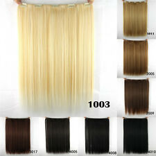 New Women Long Straight Clip in Synthetic Human Hair Extensions 5 Clip 46cm 18""