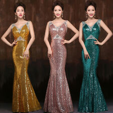 Sexy Deep V-neck Evening Dresses Beaded & Sequined Mermaid Long Prom Gowns 2015