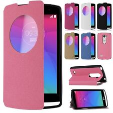Quick Circle View Window Leather Flip Case Stand Cover for LG Leon 4G LTE H340N