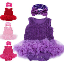 Baby Girls Princess Wedding Party Dress Rose Flower Bridesmaid Romper Outfits
