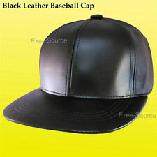 Black Brown Solid Genuine Leather Adjustable Baseball Cap Hat Made in USA - E1A