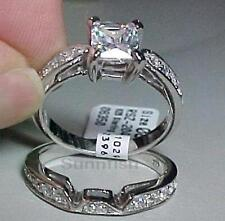 STERLING SILVER 925 PRINCESS ENGAGEMENT WEDDING TWO RING SET SIZE 9