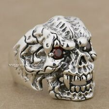 92.5% Sterling Silver Red CZ Stone Eyes Skull Claw Mens Ring 9K021 US Size 8~13