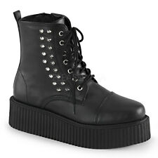 "New Demonia 2"" Vegan Platform Studded Spiked Creeper Boots Goth Punk Men's 4-13"