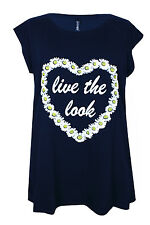 New Ladies Navy Blue Heart Print Jersey Tunic Top Plus Sizes 16 - 32
