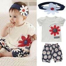 Girl Baby Top+Pants+Headband Flower Shorts Outfit 3pcs Toddler Clothes Set 6-24M