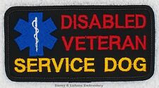 DISABLED VETERAN SERVICE DOG PATCH 2X4 inch Danny & LuAnns Embroidery assistance