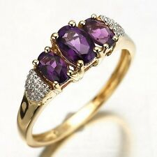 Fantastic Size 6,7,8,9,10 Amethyst Band 10KT Gold Filled Woman's Ring Engagement
