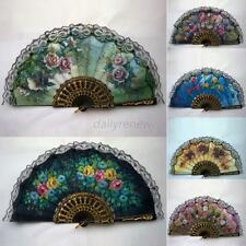 Vintage Luxury Fabric Hand Held Fans Summer Floral Folding Fans Ball Party Decor
