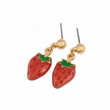 Lovely Korea Strawberry Or Cherry Crystal Girls Stud Party Earrings 2 Style