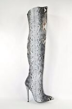 Fierce 11 Gray Snake Skin High Heel Pointy Toe Thigh Boot Arch Support Size 7